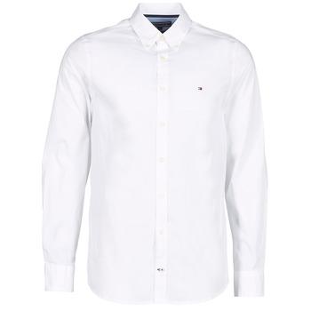 textil Herr Långärmade skjortor Tommy Hilfiger STRETCH POPLIN Vit