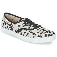 Skor Dam Sneakers Victoria INGLES GEOMETRICO LUREX Beige / Svart