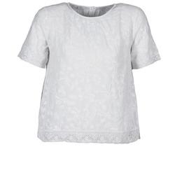 textil Dam T-shirts Manoush COTONNADE SMOCKEE Vit
