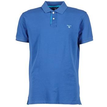 textil Herr Kortärmade pikétröjor Gant CONTRAST COLLAR PIQUE Blå