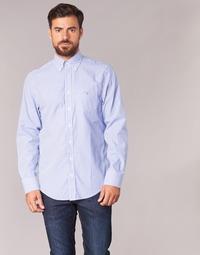 textil Herr Långärmade skjortor Gant THE POPLIN BANKER STRIPE Blå
