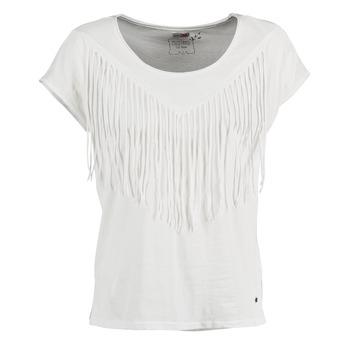 textil Dam T-shirts Mustang FRINGE Vit