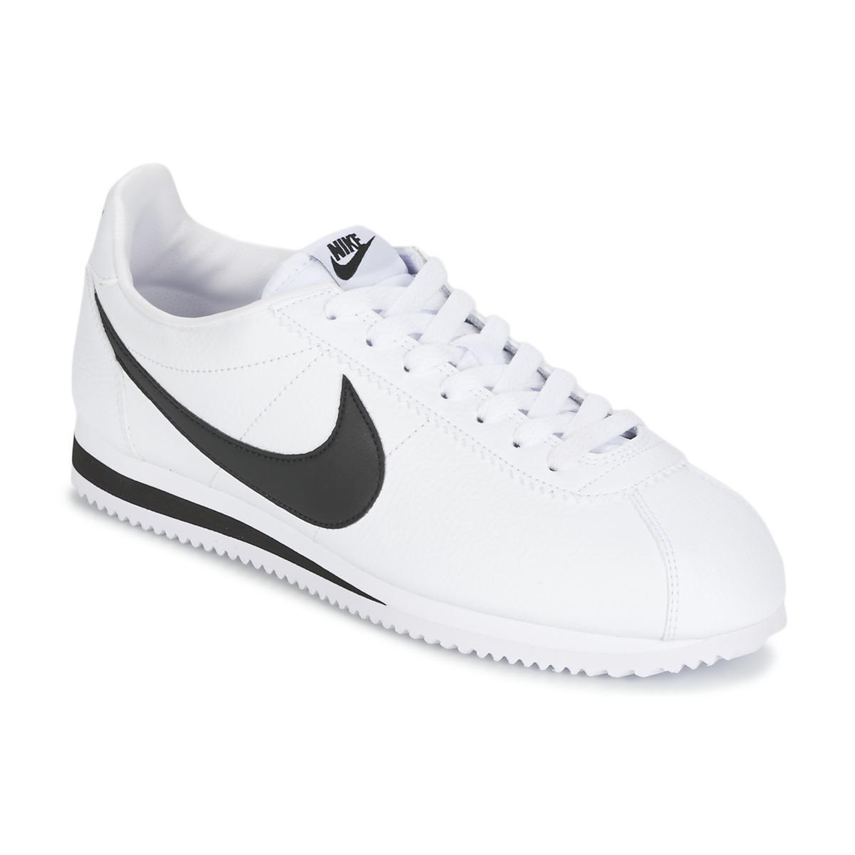 buy online db245 c1873 Nike CLASSIC CORTEZ LEATHER Vit   Svart - Fri frakt hos Spartoo.se ! - Skor  Sneakers Herr 759,00 kr