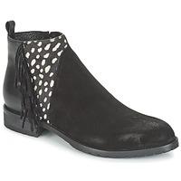 Skor Dam Boots Meline VELOURS NERO PLUME NERO Svart / Vit