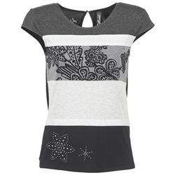 textil Dam T-shirts Desigual KITEPI Vit / Grå / Svart