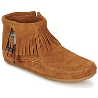 Skor Dam Boots Minnetonka CONCHO FEATHER SIDE ZIP BOOT Brun