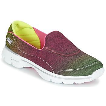 Skor Dam Sneakers Skechers GO WALK 3 AURA Rosa / Lemon