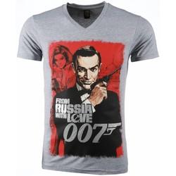 textil Herr T-shirts Local Fanatic James Bond From Russia Grå