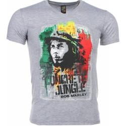 textil Herr T-shirts Local Fanatic Bob Marley Concrete Jungle Print Grå