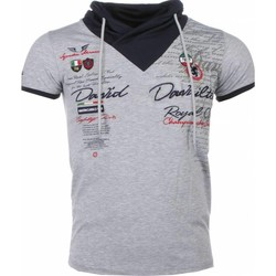 textil Herr T-shirts David Copper Italiensk Kortärmad Halsduk G Grå