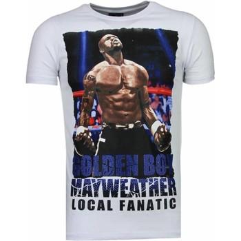 textil Herr T-shirts Local Fanatic Golden Boy Mayweather Rhinestone Wit Vit