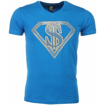 textil Herr T-shirts Local Fanatic Super Dollar Print Blå
