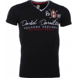 textil Herr T-shirts David Copper Broderi Squadra Azzura Svart