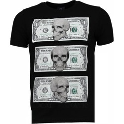 textil Herr T-shirts Local Fanatic Money Skull Rhinestone Svart