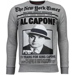 textil Herr Sweatshirts Local Fanatic Al Capone Rhinestone Grijs Grå
