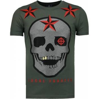 textil Herr T-shirts Local Fanatic Rough Player Skull Rhinestone Green Grön