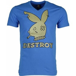 textil Herr T-shirts Local Fanatic Bunny Destroy Blå