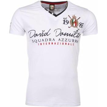 textil Herr T-shirts David Copper Italiaanse Korte Mouwen Heren Vit