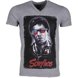textil Herr T-shirts Local Fanatic Scarface Headphone Grå