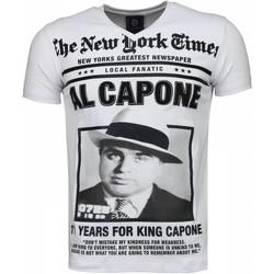 textil Herr T-shirts Local Fanatic Al Capone Rhinestone Vit