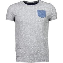 textil Herr T-shirts Bn8 Black Number Blad Sommar Motiv Grå