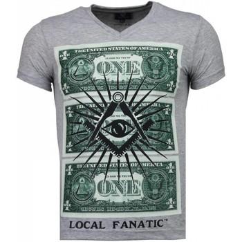 textil Herr T-shirts Local Fanatic One Dollar Eye Black Stones Grå