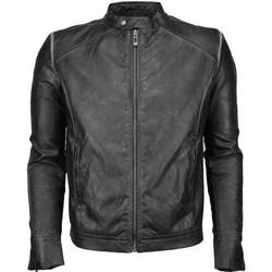 textil Herr Skinnjackor & Jackor i fuskläder Enos Imitation Leather Jacka Street Wear Svart