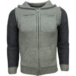 textil Herr Koftor / Cardigans / Västar Enos Vest Breiwol Capuchon Twee Kleuren Blanco Groen Grön