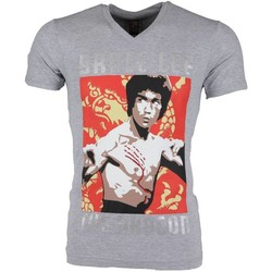 textil Herr T-shirts Local Fanatic Bruce Lee The Dragon Grijs Grå
