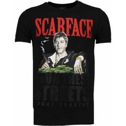 textil Herr T-shirts Local Fanatic Scarface Boss Rhinestone Svart