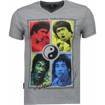 textil Herr T-shirts Local Fanatic Bruce Lee Ying Yang Grå