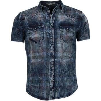 textil Herr Kortärmade skjortor Enos Jeansskjorta Kortärmad Prickig Blå