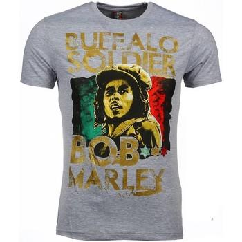 textil Herr T-shirts Local Fanatic Bob Marley Buffalo Soldier Grå