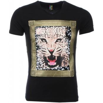 textil Herr T-shirts Local Fanatic Tryck Tiger Svart