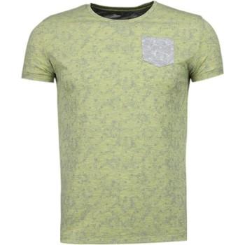 textil Herr T-shirts Bn8 Black Number Blad Sommar Motiv Gul