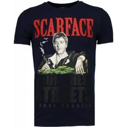 textil Herr T-shirts Local Fanatic Scarface Boss Rhinestone Blå
