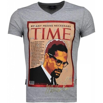 textil Herr T-shirts Local Fanatic Malcolm X Time Grå