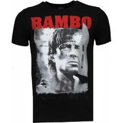 textil Herr T-shirts Local Fanatic Rambo Rhinestone Svart