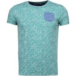 textil Herr T-shirts Bn8 Black Number Blad Sommar Motiv Grön