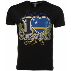 textil Herr T-shirts Local Fanatic I Love Curacao Zwart Svart