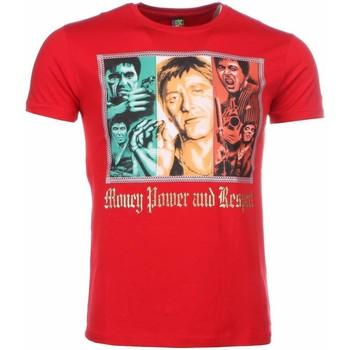 textil Herr T-shirts Local Fanatic Scarface Money Power Respect Röd