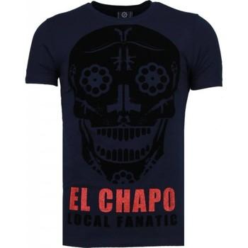 textil Herr T-shirts Local Fanatic El Chapo Flockprint Blå