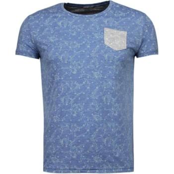 textil Herr T-shirts Bn8 Black Number Blad Sommar Motiv Blå
