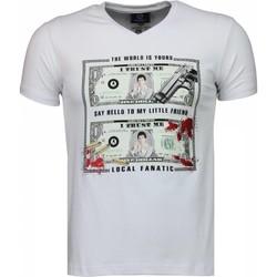 textil Herr T-shirts Local Fanatic Scarface Dollar Black Stones Vit