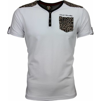 textil Herr T-shirts David Copper Tijger Print Motief Wit Vit