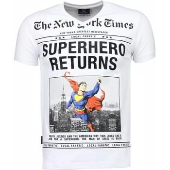 textil Herr T-shirts Local Fanatic SuperHero Returns Rhinestone Vit