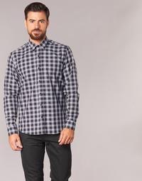 textil Herr Långärmade skjortor Yurban FLENOTE Svart / Vit