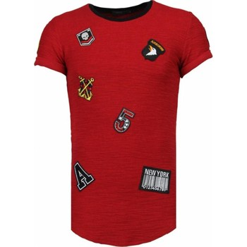 textil Herr T-shirts Justing Exclusive Military Patches Bordeaux