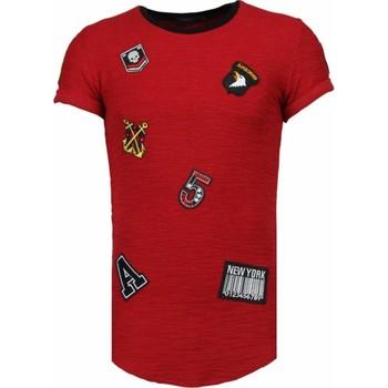 textil Herr T-shirts Justing Exclusive Military Patches Röd, Bordeaux