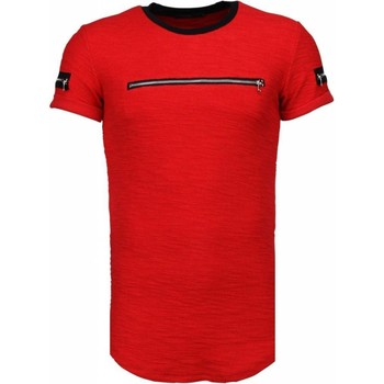 textil Herr T-shirts Justing Exclusief Zipped Chest Rood Svart